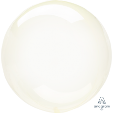 Round Yellow Crystal Clearz Shaped Balloon 50cm