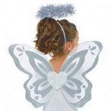 Fairytale White & Silver Angel Wings & Holo Kit Costume Accessorie