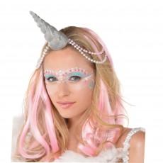 Magical Unicorn Glittered Silver Unicorn Horn Head Accessorie