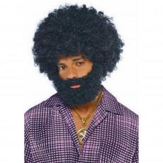 Feeling Groovy & 60's Black Afro Beard & Moustache Head Accessorie