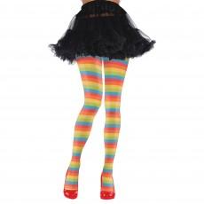 Big Top Rainbox Striped Clown Tights Adult Costume