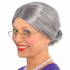Fairytale Grey Old Lady Wig Head Accessorie