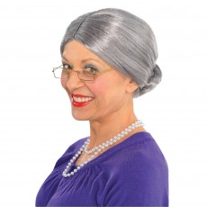 Grey Old Lady Wig Head Accessorie