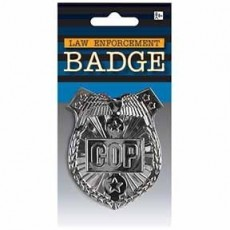 Careers Silver Police Cop Badge Costume Accessorie