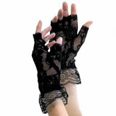Pirate Black Fingerless Lace Gloves Costume Accessorie