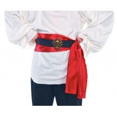 Pirate Red Satin Sash & Black Skull Band Belt Costume Accessorie