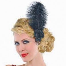 Roaring 20's Black Jazzy Feather Hairclip & Jewels Costume Accessorie
