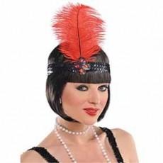 Roaring 20's Gatsby Feather Headband & Jewel Costume Accessorie