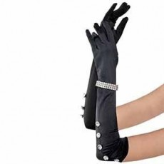 Great 1920's Satin Gloves with Rhinestone Bracelet Costume Accessorie