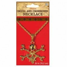 Pirate Gold Skull & Crossbones Necklace Costume Accessorie