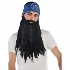 Feeling Groovy & 60's Black Plush Beard & Moustache Head Accessorie