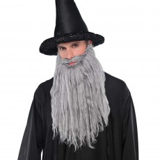 Grey Long Plush Beard & Moustache Costume Accessorie