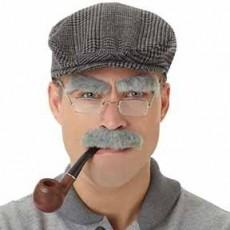 Feeling Groovy & 60's Grey Old Man Facial Hair Set Head Accessorie