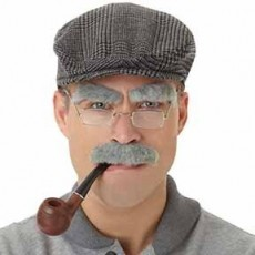 Grey Old Man Facial Hair Set Costume Accessorie