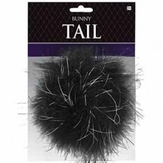 Ears & Tails Black Bunny Feather Tail Costume Accessorie