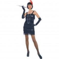 Roaring 20's Black Shimmer Look Flashy Flapper Dress & Tassels with Feather Headband Women Costume