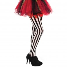 Pirate Black & White Vertical Striped Tights Adult Costume