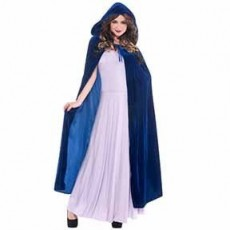 Fairytale Cobalt Blue Hooded Cape Women Costume