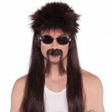 Moustache Brown Trucker Mullet Wig & Head Accessorie