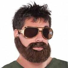 Disco & 70's Brown Hungover Beard & Moustache Head Accessorie