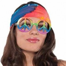 Feeling Groovy & 60's Hippie Peace Sign Glasses Head Accessorie