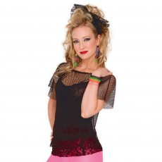 Awesome 80's Black Lace Headscarf Costume Accessorie