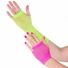 Awesome 80's Party Supplies - Fishnet Gloves Neon