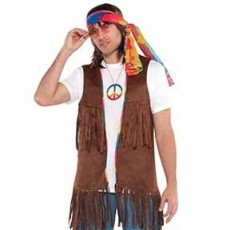 Feeling Groovy & 60's Long Hippie Vest Adult Costume Adult Size
