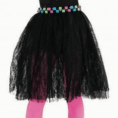 Black Awesome 80's Lace Skirt Adult Costume Standard Size