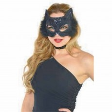 Ears & Tails Black Fancy Cat Marabou Mask Costume Accessorie