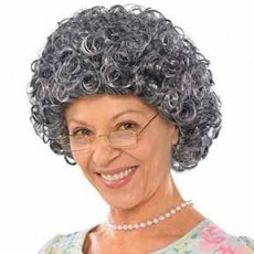 Feeling Groovy & 60's Grey Curly Granny Wig Head Accessorie