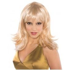 Disco & 70's Blonde Feather Shag Wig Head Accessorie