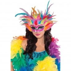 Rainbow Feather Mask Head Accessorie