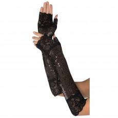 Great 1920's Roaring 20's Fancy Sequin Long Black Fingerless Gloves Costume Accessorie