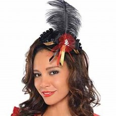 Mardi Gras Mini Tricorn Feather Hat Head Accessorie
