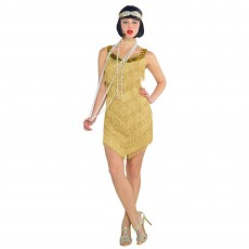 Roaring 20's Champagne Flapper Dress Shimmer Material with Tassels & Sequins Women Costume