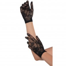Black Party Supplies - Floral Net Black Gloves