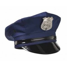 Careers Black Police Deluxe Hat Costume Accessorie