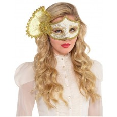 Mardi Gras Parisian Gold Mask Head Accessorie