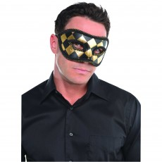 Gold Black & Harlequin Mask Head Accessorie