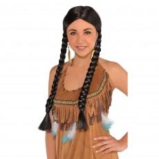 Cowboy & Western Black Braided Wig Costume Accessorie