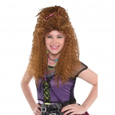 Awesome 80's Brown Crimped Wig Costume Accessorie