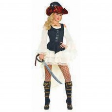 Pirate Black Lace Up Vest Women Costume