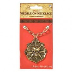 Pirate Gold Medallion Necklace Costume Accessorie