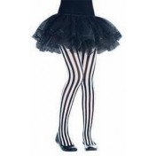 Pirate Black & White Vertical Striped Tights Costume Accessorie