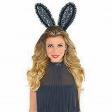 Ears & Tails Party Supplies - Black Lace Bunny Ears Headband
