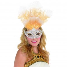 Gold Party Supplies - Filigree Feather Mask