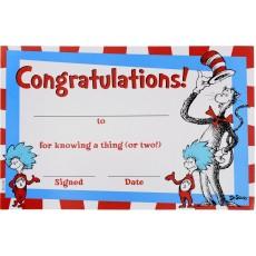 Dr Seuss Cat in the Hat Congratulations Certificates Favours 13.9cm x 21.5cm Pack of 36