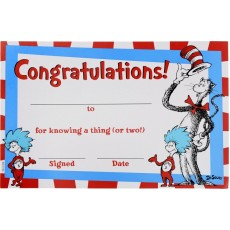 Dr Seuss Cat in the Hat Congratulations Certificates Favours