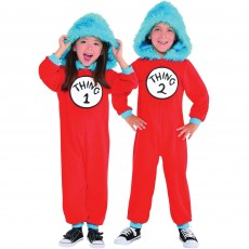 Dr Seuss Thing 1 & Thing 2 Jumpsuit Set Child Costume Child Size Small